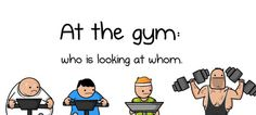 A comic about people who stare at the gym. Funny Cartoons, Funny Comics, The Oatmeal Comics, Cat Comics, Make Me Smile, Family Guy, Running, Workout, Feelings