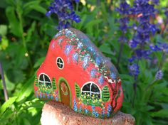 Painted fairy garden cottage rock miniature by MyPaintedSwan