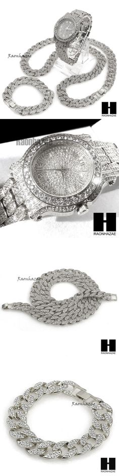Chains Necklaces and Pendants 137839: Hip Hop Diamond Techno Pave Watch 30 Iced Out Cuban Stone Chain Bracelet Set S -> BUY IT NOW ONLY: $71.24 on eBay!