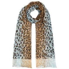 Salvatore Ferragamo Leopard Print Chiffon Scarf (£290) ❤ liked on Polyvore featuring accessories, scarves, leopard print scarves, blue shawl, chiffon shawl, leopard scarves and blue scarves