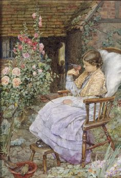"""""""For What Are The Voices Of Birds"""" Eleanor Fortescue Brickdale (1872 – 1945), British artist.  - sitting in the garden saying hello to neighbors."""