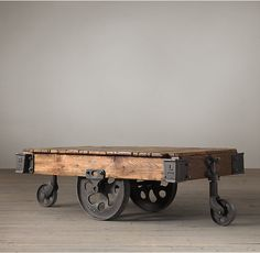 RH's Furniture Factory Cart:An early 1900s industrial original once used to transport furniture, fabric and supplies across the factory floor.