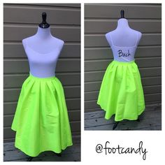 "Neon Yellow Full Skirt Brand: Msliger  Material: Polyester  Size: Large (***fits like a SMALL) Color: Neon Yellow Waist: 22"" Length: 29"" Misc: Not lined; Tags Attached  CLOSET RULES: No PayPal, holds, or trades. Reasonable offers through offer button.  BUYER PROTECTION: After purchase items are subject to extra photo/video with date & buyer closet name. Skirts A-Line or Full"