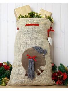 Personalised Hessian Santa Sack with Pony