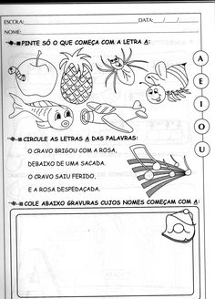 atividades com A VOGAL A para ed infantil - Pesquisa Google