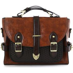 Belted Handle Satchel Bag in Brown (40.850 CLP) ❤ liked on Polyvore featuring bags, handbags, accessories, travel bag, polka dot bag, polka dot travel bag, vintage style purses and polka dot purse