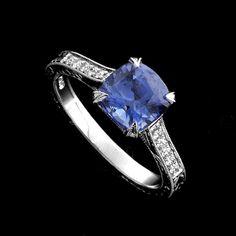 1.5Ct Cushion Blue Sapphire Daimonds Platinum Art Deco Replica Hand Engraved Engagement Ring