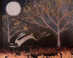 Dieses schöne Paket 10 Grüße Karte verfügt über eine Reproduktion von atmosphärischen Gemälde The Cranberry Schnee von Catherine Hyde.  Die Karte ist innen für Ihre eigene Nachricht leer.  Maße: 10,5 x 10,5 cm mit weißem Rand Bildgröße; Allgemeine Karte Größe 13,5 x 13,5 cm.