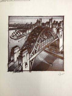 Sydney Harbour commission  Sketches (biro)  Jim Edwards