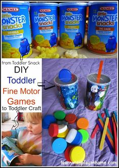 DIY Fine Motor Games. Made by kids for kids from recycled packaging.