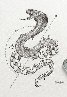 Geometric cobra tattoo design More tattoo sketches on artskillus. Tattoo Designs, Tattoo Design Drawings, Tattoo Sketches, Drawing Sketches, Tattoo Ideas, Snake Sketch, Snake Drawing, Snake Art, Geometric Art Tattoo