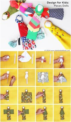 "Learn how to make a doll with a craft stick and some fabric scraps- Inspired by Native American ""Pieces Dolls"""