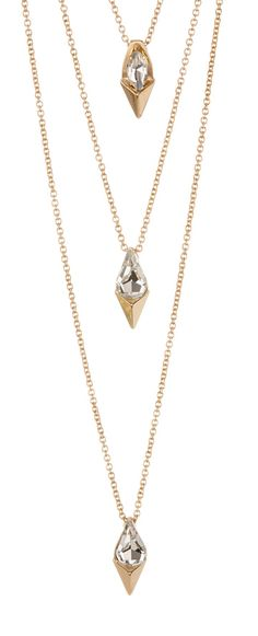 Triple Layer Clear Stone Necklace//