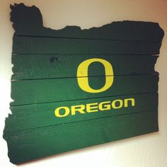LARGE Oregon Ducks Painted on Shape of Oregon on by CarvedNation