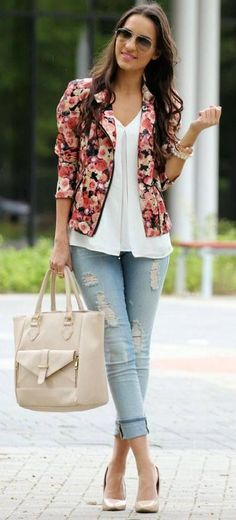 Flowery jacket and understated outfit