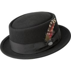 """This classic wool felt porkpie hat from the Breed Collection features a 1 1/2"""" brim."""
