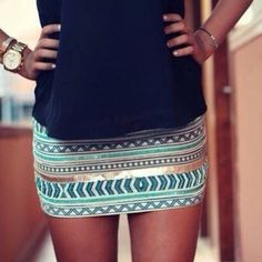 Skirt: mint, tribal, metallic, blue tribal pattern, mint green, gold - Wheretoget