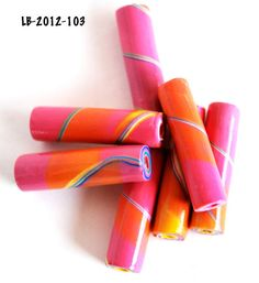 Handmade Polymer Clay Tube Beads Pink Orange by polymerclaybeads, $4.60