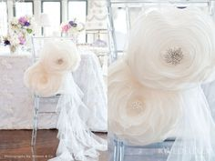 Chiffon rosette chair decor. Love it. Susan Murray International, Decor and Floral.