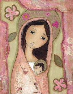 Madonna in Pink - Folk Art PRINT from Mixed Media Collage Painting x 8 inches… Catholic Art, Religious Art, Art Populaire, Mama Mary, Blessed Mother Mary, Mary And Jesus, Holy Mary, Madonna And Child, Mexican Art