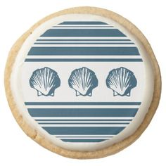 #Seashells and stripes round shortbread cookie - #Chocolates #Treats #chocolate