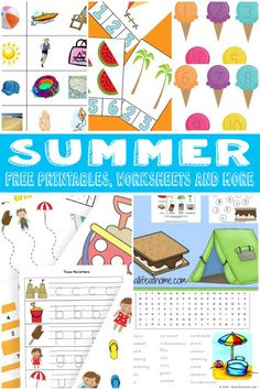 A Whole Bunch Of Summer Printables for kids to play and learn over summer break!