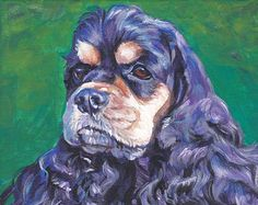 8 x 8 inch American Cocker Spaniel Dog canvas giclee print by L.A.Shepard    ABOUT THE PRINT:    This open edition image measures 8x8 inches and is