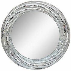 Round Mirror Silver Mosaic Twisted Modern Classic New Free shipping