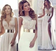 dress long prom dresses lace dress beige dress cute dress lace slit leg slitted maxi skirt slit skirt slit maxi dress cream white goddess