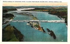 Muscle Shoals Alabama AL 1920s Aerial View Wilson Dam Antique Vintage Postcard