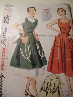 Vintage 1940s, 50s Apron and Dress with Transfer Sewing Pattern Size 14. $20.00, via Etsy.