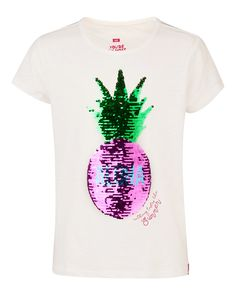 MEISJES PINEAPPLE FLIP SEQUINS T-SHIRT Wit