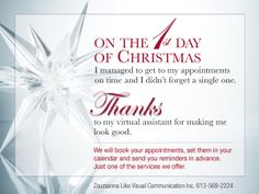 Need a virtual assistant? We can help at Zsuzsanna Liko Visual Communication Inc. Call 613.569.2224 to book an appointment or for a gift certificate for that busy someone.  Sale from Dec 21, 2013 to January 30, 2014.  5 hours $250.00 10 hours $450.00 20 hours $800.00 Save 30 to 45% off regular prices.