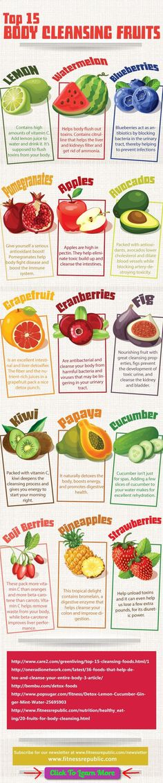 15 Body Cleansing Fruits : Fruit fasts or cleanses are said to allow your digestive system to detoxify, get rid of toxins and wastes, and help you to naturally restore harmony and balance to your entire body. In this infographic found on Pinterest, we are introduced to what are said to be the Top 15 Body […] #health #fitness #weightloss #healthyrecipes #weightlossrecipes