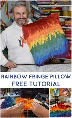Rainbow Fringe Pillow – Mister Domestic Make Your Own, Make It Yourself, Weaving Projects, I Fall, How To Fall Asleep, Sewing Crafts, Rainbow, Pillows, Fabric