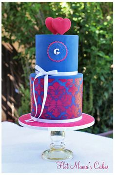 Navy and Dark Pink Engagement Cake - by hotmamascakes @ CakesDecor.com - cake decorating website