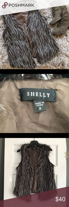 NWOT Shelly Faux Feather Vest Trendy Vest To Layer With Jeans Or A Little Dress 😍  NWOT!  Deep Brown/White Excellent Condition!  Never Washed/Never Worn  🖤Please Feel Free To Ask Questions 🖤Always Open To Offers 🖤Same Day/Next Day Shipping  ⛔️No Trades Shelly Jackets & Coats Vests