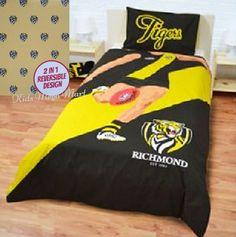 Richmond Tigers Player Single Size AFL Doona Quilt Cover set.  Available at Kids Mega Mart Shop Australia www.kidsmegamart.com.au