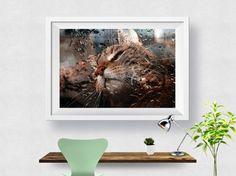 Raining Cat Print, Abstract Art Print, Home Decor, Modern Decor, Wall Art, Wall Decor, Photo, Poster Print, Printable Instant download