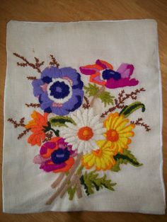 Handmade vintage crewel embroidery pillow by WhatnotsbyFran, $20.00