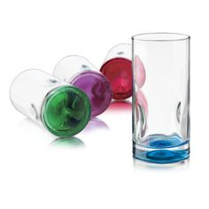 4- 16.7 oz Glass Coolers with Colored Bases. One of each color included: Green, Purple, Red & Blue. Made in Mexico   9.99