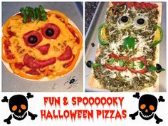 Fun & Freaky Halloween Pizza: Frankenstein Pizza & Pumpkin (Pizza) Pie - so quick and easy - plus the kids will have so much fun helping!