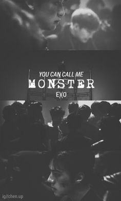 EXO MONSTER TEASER BLACK AND WHITE WALLPAPER