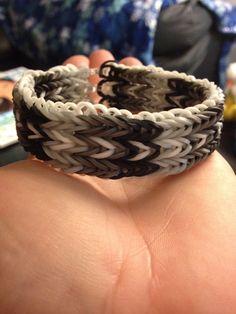 Ombre block pattern triple fishtail rainbow loom bracelet.