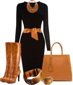 """Cognac & Black"" by mharvey ❤ liked on Polyvore"