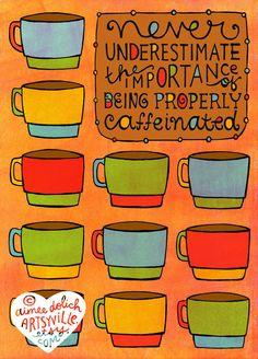 Correctamente con cafeína 8 x 10 doodle impresión por artsyville