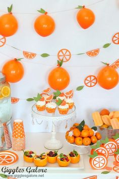 Orange You Glad It's Summer Party with Cricut - - Orange You Glad It's Summer Party with Cricut DIY Partydekoration Orange Du bist froh, dass es Sommerparty mit Cricut ist – Giggles Galore Orange Party, Orange Birthday Parties, Birthday Party Decorations, Baby Shower Decorations, Baby Orange, Orange You Glad, Baby Shower Parties, Baby Showers, Themed Birthday Parties