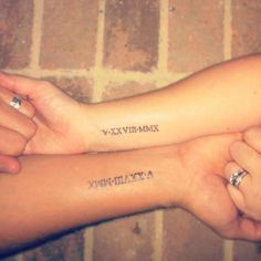 Our wedding date in roman numerals. Wedding rings can be taken off but, this tattoo is forever. It will always remind us, our marriage is the most important thing.