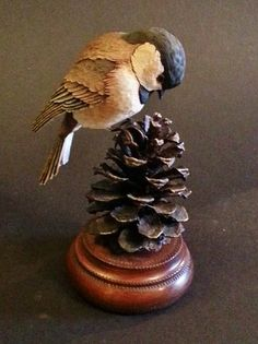Painted Wooden Chickadee by Jim Harden, offered for sale by Ditto Galleries. www.dittogalleries.com