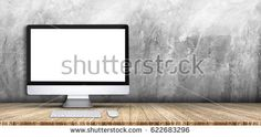Desktop computer,keyboard,mouse on wood plank table top grey grunge concrete wall background,Mock up for display or montage of product,Banner or header for advertise on social media.